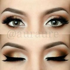 Classy eye makeup with touches of gold. Such a soft and simple look.