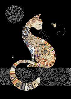 Quality greeting cards designed and published in the UK. Art Fantaisiste, Art Du Collage, Art Mignon, Bug Art, Cat Quilt, Ouvrages D'art, Art Et Illustration, Illustrations, Cat Drawing