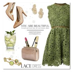 """Lovely Lace Dresses"" by huda-alalawi ❤ liked on Polyvore featuring Valentino, Avon, Jimmy Choo, Adriana Orsini and Palm Beach Jewelry"