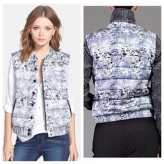 """Anthropologie White marble puffer vest A comfy puffer vest in the print of the season an icy marble print provides a cool look when the weather gets chilly• 25"""" length• Front zip closure with snap placket• Side welt pockets• high end brand carried at Free People• Maison Scotch Jackets & Coats Vests"""