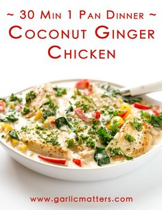 30 min Creamy Coconut Ginger Chicken is a one pan, speedy, balanced meal recipe with lean protein, wealth of vitamins and minerals, plus your natural immune system boosters. Because no cold or flu wants to mess with ginger or garlic! Isn't this the most delicious way to arm your body's natural defences? So easy, so tasty and so quick to make! This is the perfect, home-cooked midweek Thai coconut ginger chicken recipe for all you, busy people!