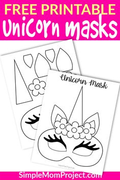 FREE anything is always nice, but these FREE printable Unicorn craft coloring sheets are AWESOME! Use them for birthday parties as party favors, a fun Halloween costume or just plain fun! Animal Mask Templates, Printable Animal Masks, Unicorn Printables, Free Printables, Printable Templates, Printable Crafts, Diy Unicorn Party, Unicorn Crafts, Unicorn Birthday Parties