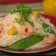 the chew | Recipe  | Ming Tsai's Spicy Shrimp With Mango And Rice Noodles