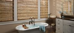 Revel in the tranquil beauty of natural textures in this bathroom with Hunter Douglas Provenance® Woven Wood Shades. ♦ Hunter Douglas window treatments - available at Ed Selden Carpet One in Lakewood Wa! Bathroom Window Treatments, Wooden Shades, Bamboo Blinds, Shades Blinds, Bathroom Windows, Window Styles, Woven Wood Shades, Wood Blinds, Large Bathrooms