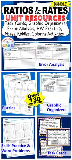 I use this RATIOS AND RATES BUNDLE every year with my students.It includes 40 task cards, 10 error analysis activities, 10 problem solving graphic organizers, 5 practice worksheets, 6 puzzles (over 130 questions). Perfect for warm-ups, spiral review, math centers, assessment prep, exit tickets and homework. Topics : Greatest Common Factor, Least Common Multiple, Ratios, Unit Rate & Unit Price, Equivalent Ratios, Ratio Tables , Rate Problems 6th grade math common core 6.RP.1, 6.RP.2, 6.RP.3,