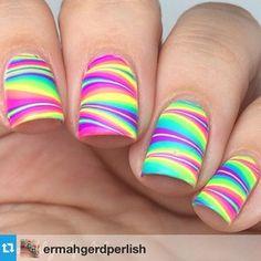 Browse & see more Water marble nail art designs 2016 Rainbow Nails, Neon Nails, Diy Nails, Summer Nails Neon, Pretty Nails For Summer, Tribal Nails, Neon Rainbow, Fancy Nails, Trendy Nails