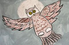 Owl drawing art lesson