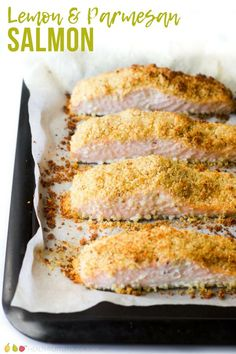 Baked salmon topped with a lemon and parmesan crumb. A delicious family meal. #salmon #bakedsalmon #family