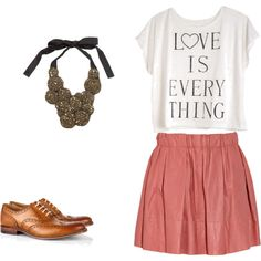Blush skirt, oxfords, etc.