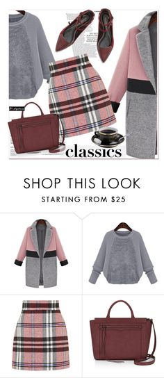 """""""gray , pink and oxblood"""" by paculi ❤ liked on Polyvore featuring Topshop, Rebecca Minkoff and nastydress"""