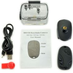 Looking good BUNDLE 808 #26 1080P KeyChain Camera HD RC Mini Action DVR H.264 POV Video Recorder (Waterproof Case)