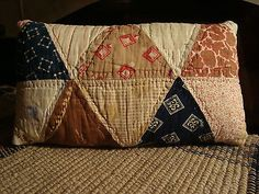 Primitive Antique Late 1800 Triangle Quilt Pillow Early American Design | eBay