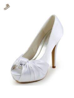 Elegantpark EP2071-IP Women's Peep Toe High Heels Pumps Knot Pleated Platforms Satin Wedding Bridal Shoes White US 6 - Elegantpark pumps for women (*Amazon Partner-Link)