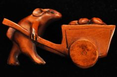 Antique Hand Carved Boxwood Carving Mouse Netsuke Signed 71mmX39mm