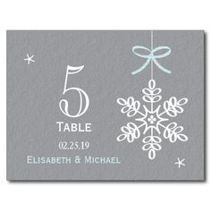 Blue Snowflake Wedding Reception Table Number Card Postcards