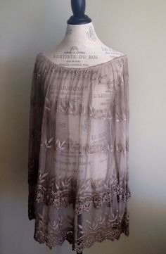 KARAMEL GREY VIOLET SHEER BOHEMIAN VINTAGE LACE FROM ITALY TUNIC ROMANTIC GYPSY BEACH WEDDING