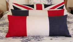 French vintage bunting that once proudly adorned for a village celebration, we have respectfully produced vivid red, white and blue pillows. Also have a strong nautical feel too. #pillows #blue #white #red #linen #flags #french #british