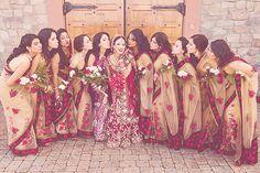 Cream and roses on bridesmaids sarees