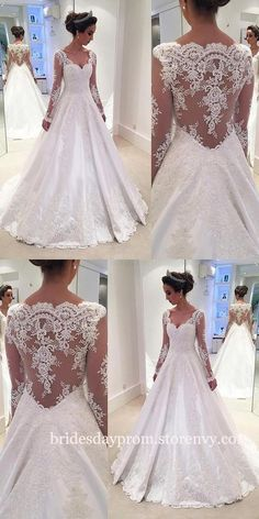 Modest Wedding Dresses,Wedding Dresses Long, Lace Wedding Dresses,Wedding Dresses With Long Sleeves,Illusion Back V Neck White Bridal Gown is part of White tulle wedding dress inches Tailoring Time - Western Wedding Dresses, Wedding Dress Trends, Wedding Dress Sleeves, Modest Wedding Dresses, Wedding Dress Styles, Designer Wedding Dresses, Bridal Dresses, Tulle Wedding, 2017 Wedding