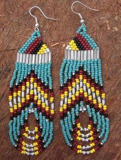 Beaded earrings. Love the design hate the colors.