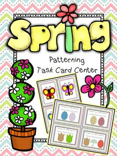 {Freebie} Spring-themed Flashcards and Task Cards for Patterning Math Center