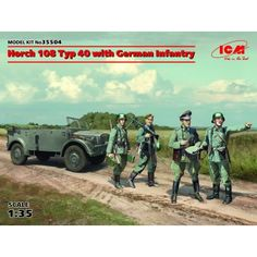 ICM 35504 Horch 108 Typ 40 With German Infantry Scale Plastic Model Kit for sale online Mg 34, Plastic Model Kits, Plastic Models, German Army, Tamiya, World War Two, Scale Models, Military Vehicles, Wwii