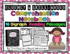 *Fluency and Skill Based Comprehension Notebook:  Digraph Reading Passages Each reading passage focuses on: * Phonics (Digraphs)* Reading Comprehension* Fluency* Vocabulary* Writing SAVE $$$ when purchasing the Growing Bundle  What is included? * 16 Digraph Reading Passages* Word Sort for each pattern* Writing Activity for each pattern(Students write the words found in the passage and a sentence using one or more of the pattern word) Digraphs that are included: -ch beginning-ch…