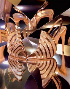 Disco Queen: metallic copper colored sandals by Emporio #Armani
