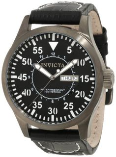 Invicta Men's 11200 Specialty Black Dial Black Leather Watch Invicta. $75.60. Quartz movement. Flame-fusion crystal; brushed gunmetal ion-plated stainless steel case; black leather strap with contrast stitching. Day and date window. Black dial with black hands, white hour markers and arabic numerals; luminous. Water-resistant to 100 m (330 feet)