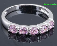 Free Shipping ! wholesale ! Pink zircon ring cute  Fashion jewelry 18K Gold Plated  Rings J184 $4.50
