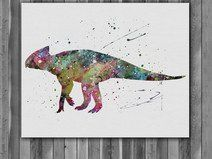 Archaeoceratops Dinosaur print watercolor