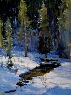 Tributaries of Light by Richard Alan Nichols Oil ~ 24 x 18 Painting Snow, Winter Painting, Landscape Artwork, Abstract Landscape, Watercolor Trees, Seascape Paintings, Pastel Art, Pictures To Paint, Winter