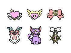 Sailor Moon Icons by Paloma Castro on Dribbble Mini Tattoos, Small Tattoos, Sailor Moon Art, Sailor Moon Tattoos, Sailor Venus, Sailor Mars, Sailor Saturno, Moon Icon, Tatoo Henna