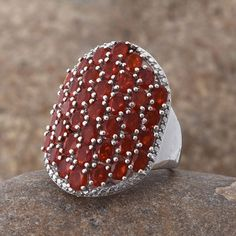 Jalisco Cherry Fire Opal and Diamond Ring in Platinum Overlay Sterling Silver (Nickel Free)