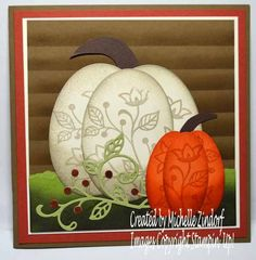 Hi there, I love to create these oval pumpkins and stamp some flowers on them which takes them to the next level. Perfect for an Autumn Thank You or invite. The background is hand sponged slate board