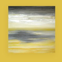 """Art Painting Abstract Acrylic Yellow and Gray Seascape Titled: Be Still 40x40x1.5"""" by Ora Birenbaum"""