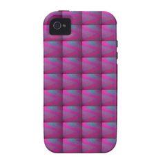 Pink Purple Silken Quilt Tiled Patchwork Pattern Case-Mate iPhone 4 Cases