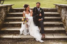 The couple shared their wedding day with their pet dog. Photography by Jackson & Co.