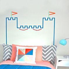 Washi tape headboard castle diy washi & other tape ideas ско Masking Tape Wall, Tape Wall Art, Tape Art, Diy Wall Art, Washi Tape Headboard, Washi Tape Crafts, Room Decor, Wall Decor, Blog Deco