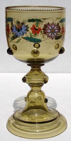 Antique Bohemian Theresienthal Glass Art Nouveau Floral Goblet