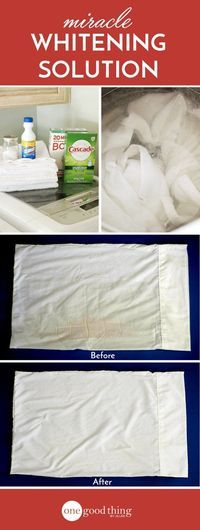 Make Your Own Miracle Laundry Whitening Solution Don't give up on those dingy whites in your wardrobe and linen closet. Try this DIY whitening solution first! It's simple to make and works laundry miracles! Homemade Cleaning Products, Cleaning Recipes, Natural Cleaning Products, Cleaning Hacks, Diy Hacks, Cleaning Supplies, Cleaning Crew, Deep Cleaning Tips, House Cleaning Tips