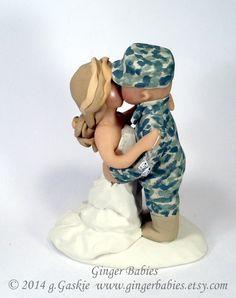 Military Army Solr Wedding Cake Topper Groom Gun Silhouette Helmet Hero And