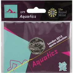 Price: $4.95 - Olympics The Royal Mint London 2012 Sports Collection Aquatics 50p Coin - TO ORDER, CLICK ON PHOTO