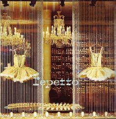 Repetto, Paris gorgeous window display, strings of beads and ballet dresses, chandeliers. Gorgeous backdrop for celebration dessert table Boutiques, Repetto Paris, Rue Montorgueil, Marketing Visual, I Love Paris, Shop Fronts, Frou Frou, Paris Mode, Retail Design