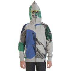 Boys Vacation Full Zip Youth Sweatshirt - Seriously, who do you think you are? You can be whoever you want to be when you're wearing the Vacation Full Zip hoodie. Perfect for you masters of disguises, simply zip the hood up and over you face and walk the earth in mystery. Mesh insets at the eyes and mouth make breathing easing. Includes a Volcom logo patch at sleeve. With a front pouch pocket. Pre shrunk. Slim fit.