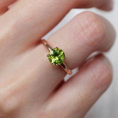 Details about  /3 ct Round Solitaire Classic Stud Natural Peridot Earrings 14k Rose Pink Gold