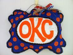 OKC Thunder Burlap Door Hanger
