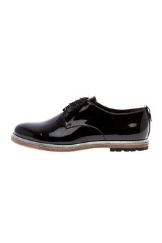 AGL patent leather black oxford with black think laces and a silver glitter felting along the sole.  Black Leather Oxford by AGL . Shoes - Flats - Loafers & Oxfords Michigan