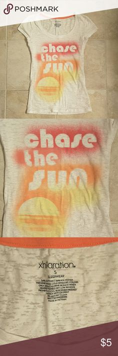 'Chase the Sun' Xhilaration t-shirt (size small) 'Chase the Sun' Xhilaration tee. Inside of shirt says 'sleepwear,' but this is also very cute to wear with a tank underneath or as a beach cover up. Xhilaration Tops Tees - Short Sleeve