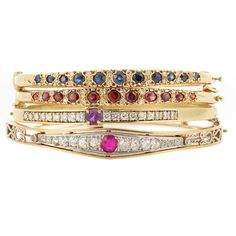 Four Gold, Diamond and Gem-Set Bangle Bracelets   14 kt., garnets, sapphires, amethyst & ruby, 30 round & old-mine cut diamonds ap. 1.50 cts., single-cut diamonds, ap. 36.5 dwt. Inner cir. 6 1/8, 6 1/4, 6 1/2 & 7 inches.  [Simply because these would be cool worn as a stack]